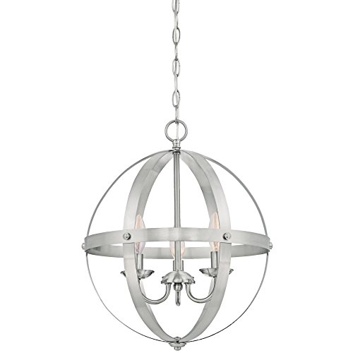 Westinghouse Lighting 6341900 Stella Mira Indoor Chandelier, Three-Light Pendant, Brushed ()