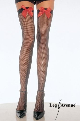 Leg Avenue Fishnet Thigh Highs with Satin Bow, Red/Black, One Size (Kitty Sex Outfit)