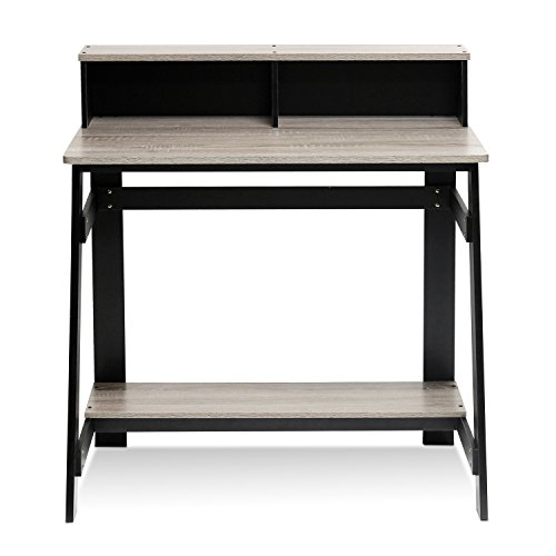 Furinno 14054BK/GYW Simplistic a Frame Computer Desk, Black/Oak Grey (Mainstays L Shaped Desk With Hutch Multiple Finishes)