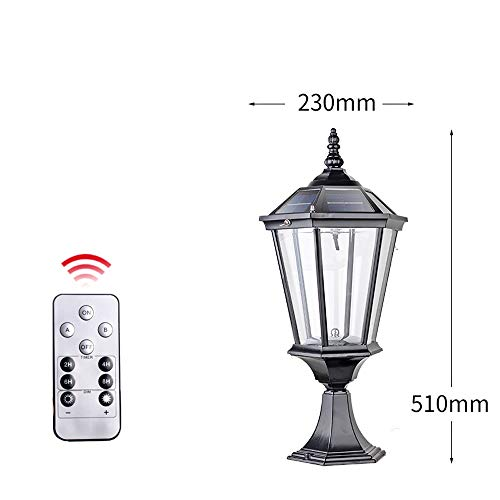 Lexluy Solar Outdoor Column Light with Remote Control Dimmable Intensity Dual Color Temperature Switching Dual-Purpose Lamp for Garden Deck Brick Pillar Post Lantern Rated Waterproof IP55