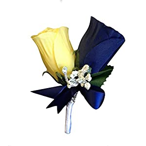 Boutonniere - Navy Blue Rose with Yellow Rose Boutonniere with Pin for Prom, Party, Wedding 75