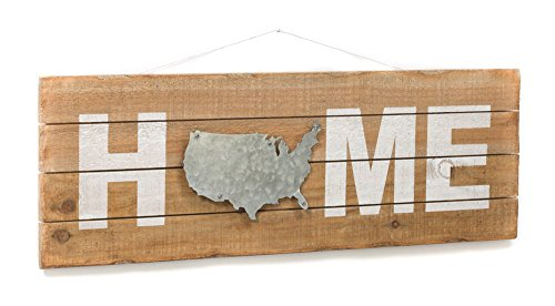 (Home Sign with USA Outline Map - Rustic Wall Decor - Wooden Pallet Art Plaque)