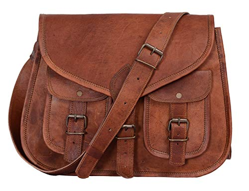 KPL 14 Inch Leather Purse Women Shoulder Bag Crossbody Satchel Ladies Tote Travel Purse Genuine Leather (Tan - Satchel Lined Leather