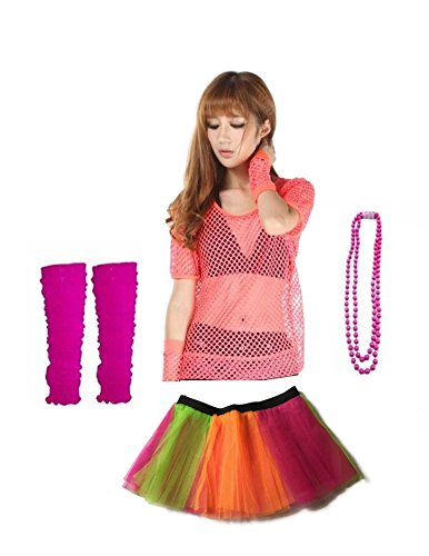 [Rush Dance 80s Fancy Costume Set – TUTU, TOP, LEG WARMER, FISHNET GLOVES & BEADS (One Size, Rainbow & Pink Top)] (Dark Cupid Costumes)