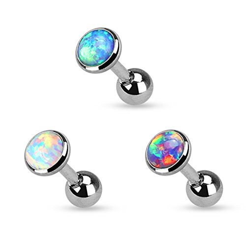 Set of 3 Opal Set Flat Top 316L Surgical Steel Cartilage/Tragus Barbell in 3mm, 4mm, or 5mm (3mm - Set of - Top Bar Flat