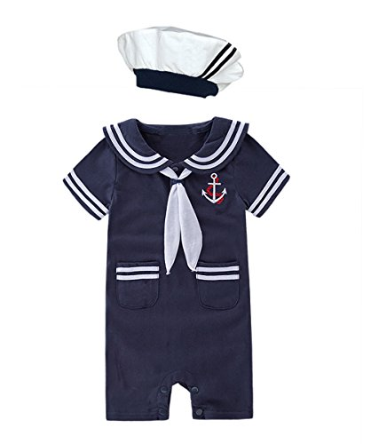 XM Nyan May's Baby Toddler Boys Sailor Stripe Romper Marine Navy Romper Onesie Outfit (6-12 Months, Navy B)]()