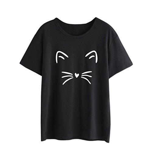 Challyhope Hot Sale! Women Girls Fashion Cat Print T-Shirt Short Sleeve O-Neck Casual Basic Tee (XL, (Kitty Denim Shirt)
