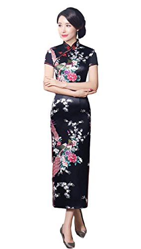 Hide Away Women's Longi Chinese Dress Cheongsam [White/Purple/Black/Red] Mandarin Gown Qipao China Dress (Medium, Black)