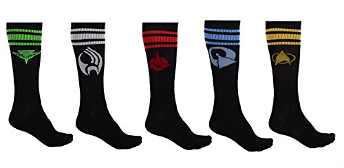 Star Trek The Next Generation Races Icon Tube Socks -5 Pack Size (Star Trek Icons)