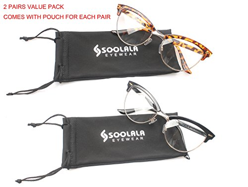 SOOLALA Womens Mens 2 Pairs Fashion Designer Semi-rimless Cat Eye Reading Glasses, - Eye Shaped Glasses Cat