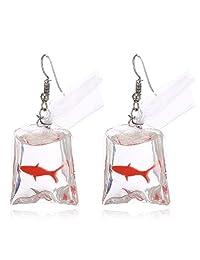 TOKO Funny Acrylic Gold Fish Pocket Dangle Earrings Goldfish Earrings Girls Women
