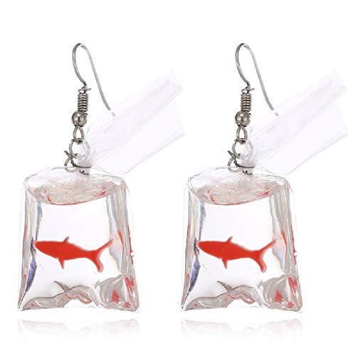 TOKO Funny Acrylic Gold Fish Pocket Dangle Earrings Goldfish Earrings Girls Women - -