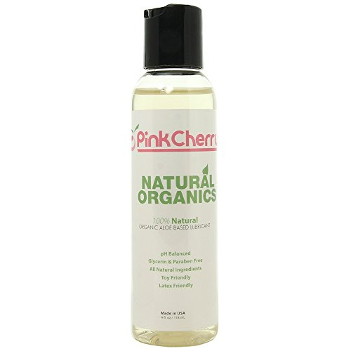 PinkCherry Natural Organics Glycerine Free Aloe Based Lubricant in 4 Ounces - Unscented pH Balanced Organic Lube