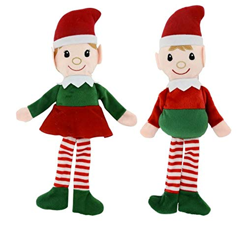 Christmas House Shelf-Sitting Plush Christmas Elves, 14.5 in.
