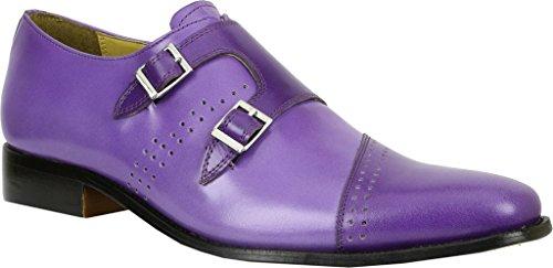Monkstrap Men's Purple Buff Dark Leather Carbonne Giorgio Purple Brutini q5Ytwt