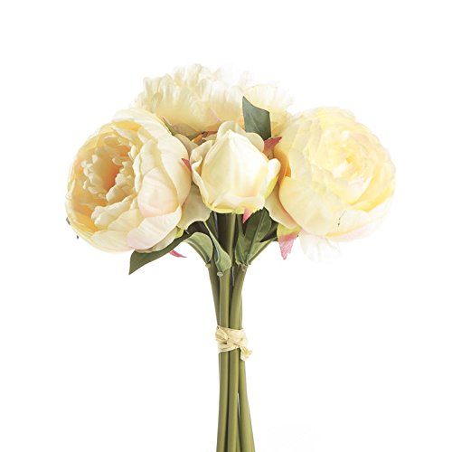 Factory Direct Craft Buttercream Artificial Peony Bouquet for Home Decor, Crafting and Displaying