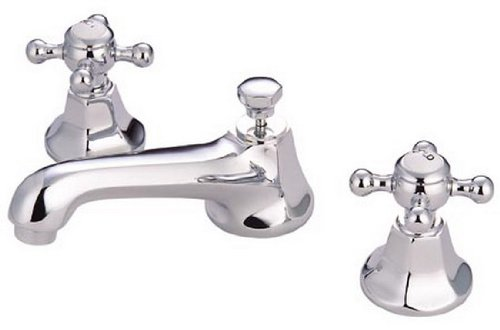 (Kingston Brass KS4461BX Metropolitan Widespread Lavatory Faucet with Metal Cross Handle, Polished Chrome )