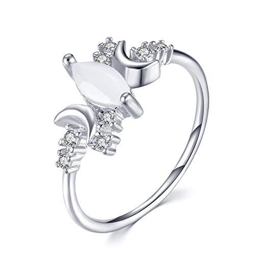 BELUCKIN Crystal Wicca Pagan Triple Moon Goddess Wedding Bands Engagement Ring for Women Girls (Silver 7)