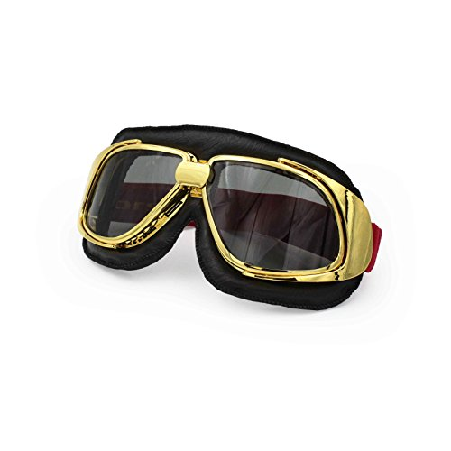 Ediors Sports Vintage Aviator Pilot Style Leather Motorcycle Cruiser Scooter Goggle | Helmet Compatible, Extra Long Adjustable Strap (Gold Frame, Black Padding, Smoke Lens)