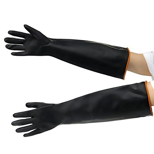 T.Face Latex Industrial Rubber Gloves Acid and Alkali Resistant Anti-corrosion Black Workplace Safety Protective Glove Black (55cm) by T.Face
