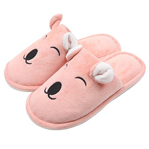 Chicnchic Mujer Comfort Pink Cute Oso De Algodón Zapatillas Para Los Oídos Animal Slip On Interior Home Zapatos Pink