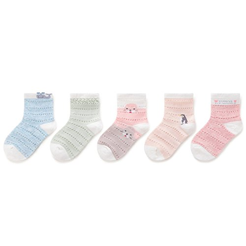 FQIAO Child Socks 3-5 Years 5 Packs Summer Mesh Baby Thin Cotton Socks Unisex Girls Socks