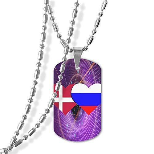 Denmark Flag And Russian Flag Tag Pendants -