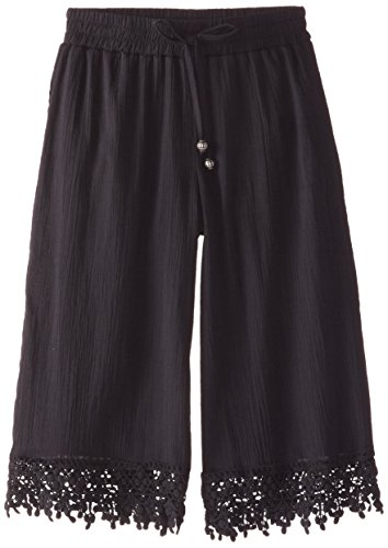 My Michelle Big Girls' Culotte Pant with Crochet Trim At Hem and Tie Waistband, Black, Small
