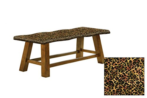 "Honey Oak 24"" Tall Counter Height Wavy Bench Featuring Your Choice of an Animal Print Fabric Covered Padded Seat Cushion (Cheetah Small Cotton) (Seating Dining Small For Room Banquette)"