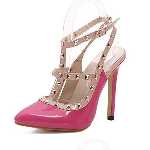 YCMDM Donne Sandali Rivet a punta cava col tacco alto scarpe singolo 39 36 35 38 37 40 , pink , 36