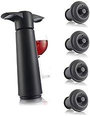 Vacu Vin Wine Saver Pump with 2 x Vacuum Bottle Stoppers - Black (Black Pump + 4 Stoppers)