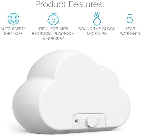 4196alIBwlL. AC - Pure Enrichment® MistAire™ Cloud - Ultrasonic Cool Mist Humidifier Lasts Up To 24 Hours, 8-Color Night Light For Child Or Baby, Variable Mist, Whisper-Quiet Operation For Nursery Or Bedroom, BPA Free