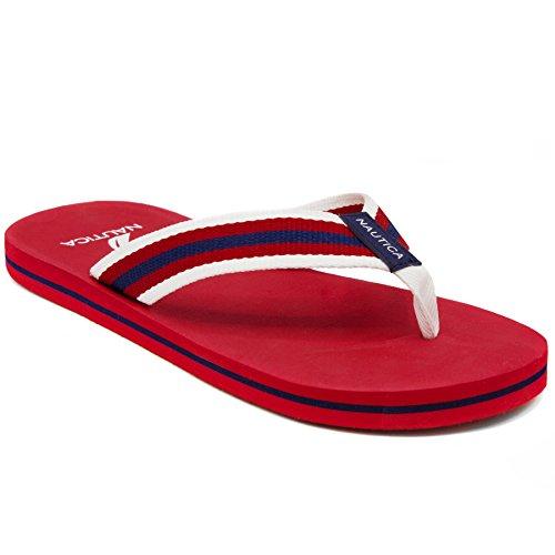 Nautica Men's Footrope Flip Flop, Beach Sandal, Boat Slide-Navy-12 Canvas Lined Sandals