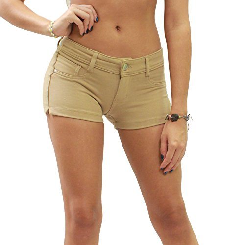 JW Maxx Soft Stretch Brazilian Moleton 5 Pocket Design Casual Shorts (L, Khaki) (Denim Pocket Stretch Shorts)