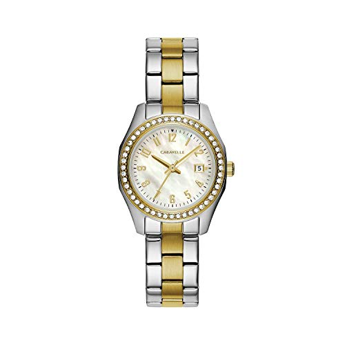 Caravelle Women's Quartz Watch with Stainless-Steel Strap, Two Tone, 14 (Model: 45M113)