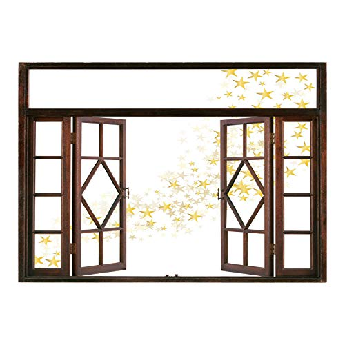 Wall Magic Wagner (SCOCICI Removable Wall Sticker/Wall Mural/Yellow and White,Yellow Stars Flowing Over The White Backdrop Magic Galaxy Celebration,Yellow White/Wall Sticker Mural)