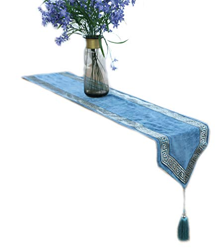 HugeHug High-End Embroidery Flannel Tablecloth/Table Runner with Tassels/Placemats/Throw Pillowcase/Chair Cushion Sets