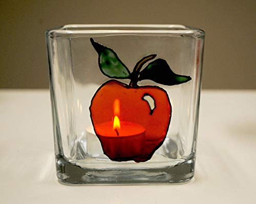 Red Apple Hand Painted Stained Glass Square Candle Holder, Fruit Home ()