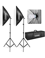 ESDDI Softbox Light Kit Studio Lighting Fotografía con 2 lámpara de Foto 800W, 2 Ventana de luz 50x70cm, 2 trípodes, 1 Bolsa de Transporte