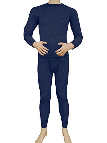 Men's 2pc Long Thermal Underwear Set (Navy, Large) (Underwear Thermal Blue)