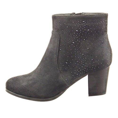 Sopily - damen Mode Schuhe Stiefeletten Strass - Schwarz