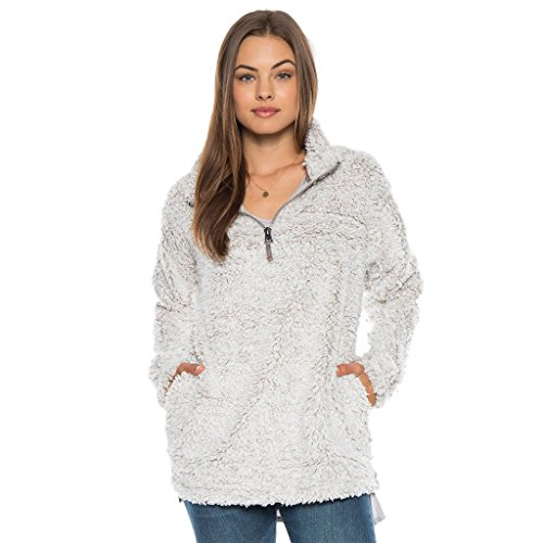 Dylan by True Grit Women's Frosty Tipped Pile 1/4 Zip Stadium Pullover Putty Medium