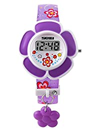 Gosasa Kids Purple Digital Watch Girls cartoon watches, Flowers Resin Band
