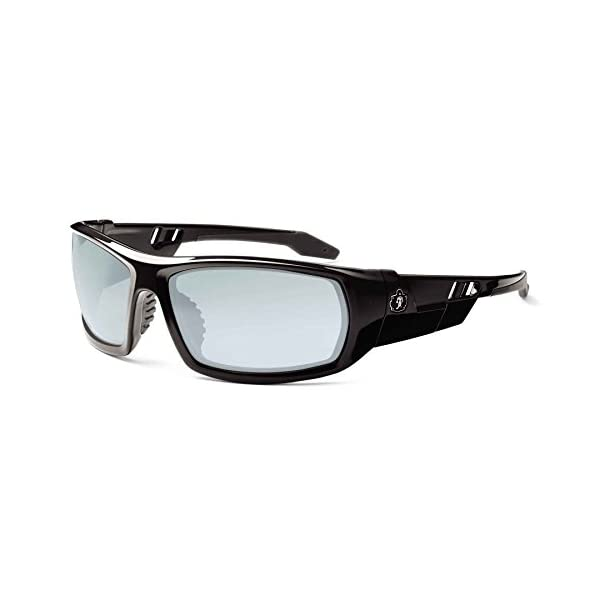 Ergodyne Skullerz Odin Safety Sunglasses - Black Frame, Blue Mirror Lens 1