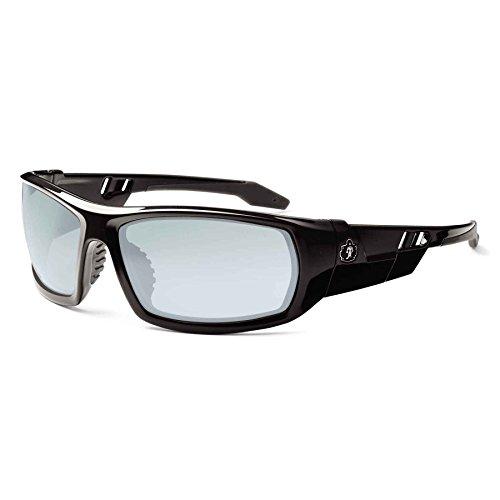 Ergodyne Skullerz Odin Safety Sunglasses - Black Frame, Blue Mirror Lens 1