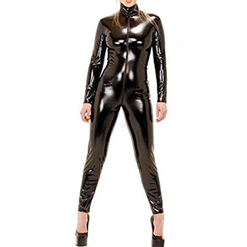 [9066 - Plus Size Spandex Wetlook Bodysuit Catsuit Jumpsuit Costume Black (1X)] (Black Bodysuit Costume)