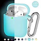 Hamile AirPod Case Protective Cover, [Front LED Visible] Luminescent Shockproof Soft Silicone Case Cover Skin Compatible for Apple AirPods 2 & 1, with Portable Carabiner (Light Blue-Nightglow Blue)