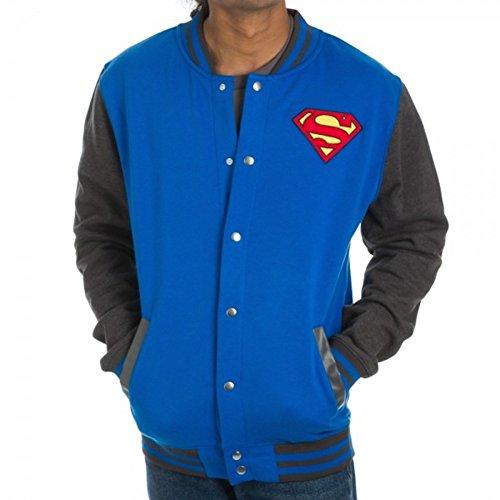 Superman Men's Blue Letterman Jacket, Medium