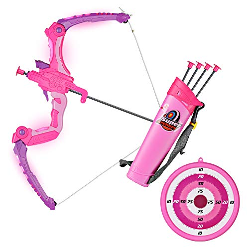 SainSmart Jr. Kids Bow and Arrows, Light Up Archery Set for Kids Outdoor Hunting Game with 5 Durable Suction Cup Arrows, Luminous Bow and Sighting Device,Pink