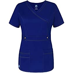 Adar Womens Pop-Stretch Junior Fit Taskwear Tab-Waist Crossover Scrub Top - 3200 - GLB - L